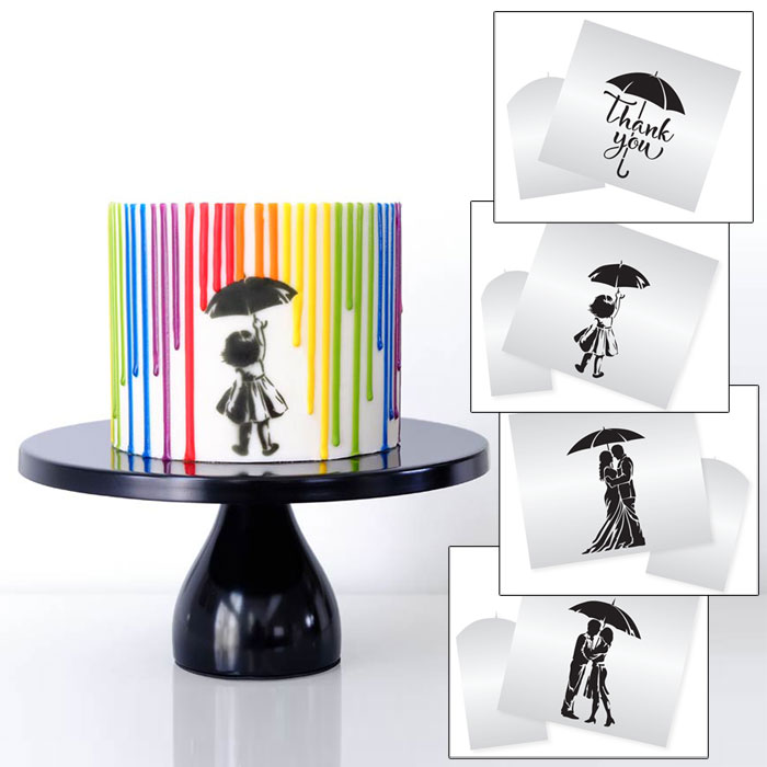 Umbrella Stencils for Rainbow Drip Cakes